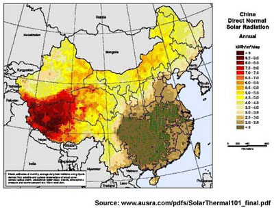 thermal map of China and Tibet